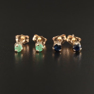 10K Emerald and Sapphire Stud Earrings