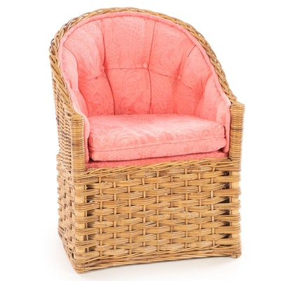 The Wicker Works Italian Wicker Button-Down Tub Chair, Late 20th Century