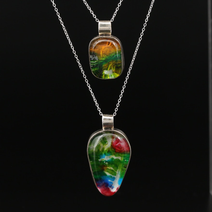 Sterling Silver Dichroic Glass Pendant Necklaces