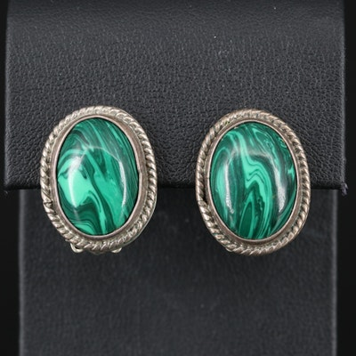 Mexican Sterling Faux Malachite Button Earrings