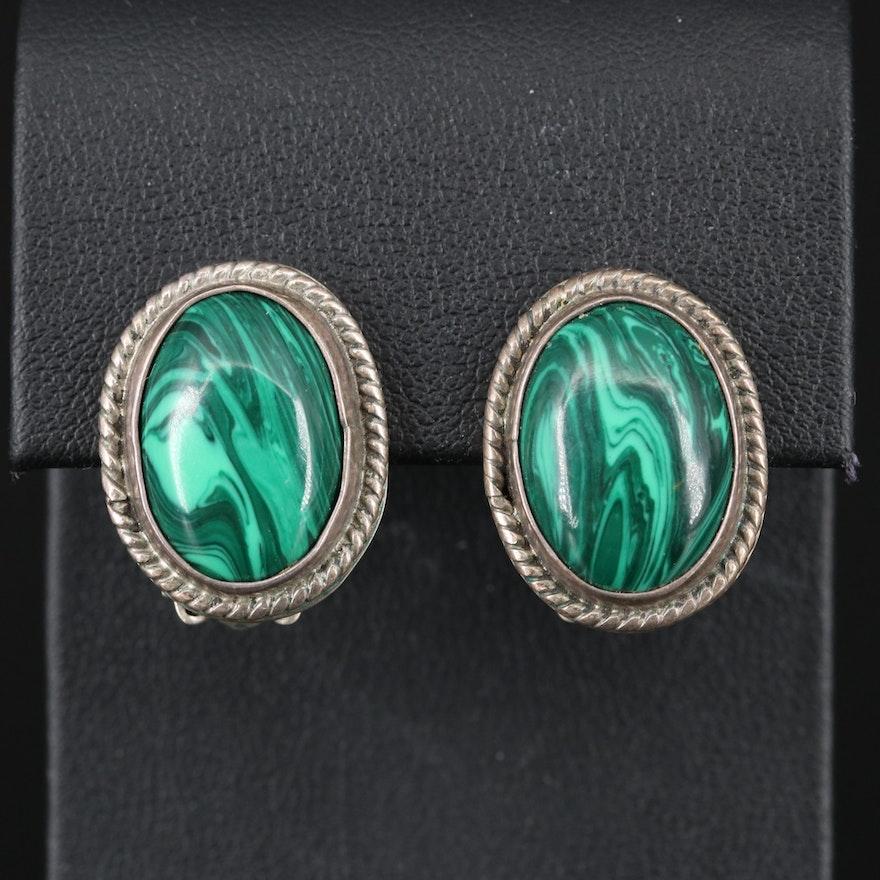 Mexican Sterling Faux Malachite Button Earrings