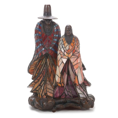 Rabbto Cast Bronze and Stained Glass Native American Figural Lamp, Contemporary