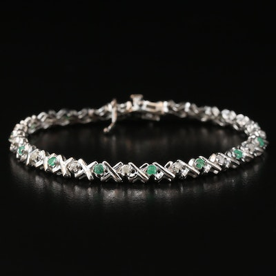 "Sterling Silver Emerald and Diamond ""X"" Link Bracelet"