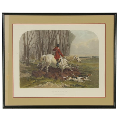 """Hand-Colored Restrike Engraving after T.W. Huffam and Harry Hall """"Drawn Blank"""""""