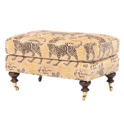 Tibetan Style Tiger Print Upholstered Ottoman on Casters
