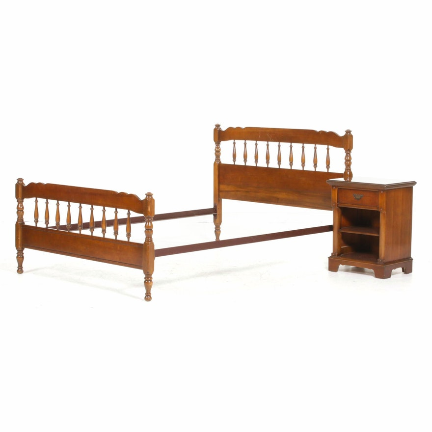 Bassett Furniture Colonial Style Wood Nightstand and Twin Size Bed Frame