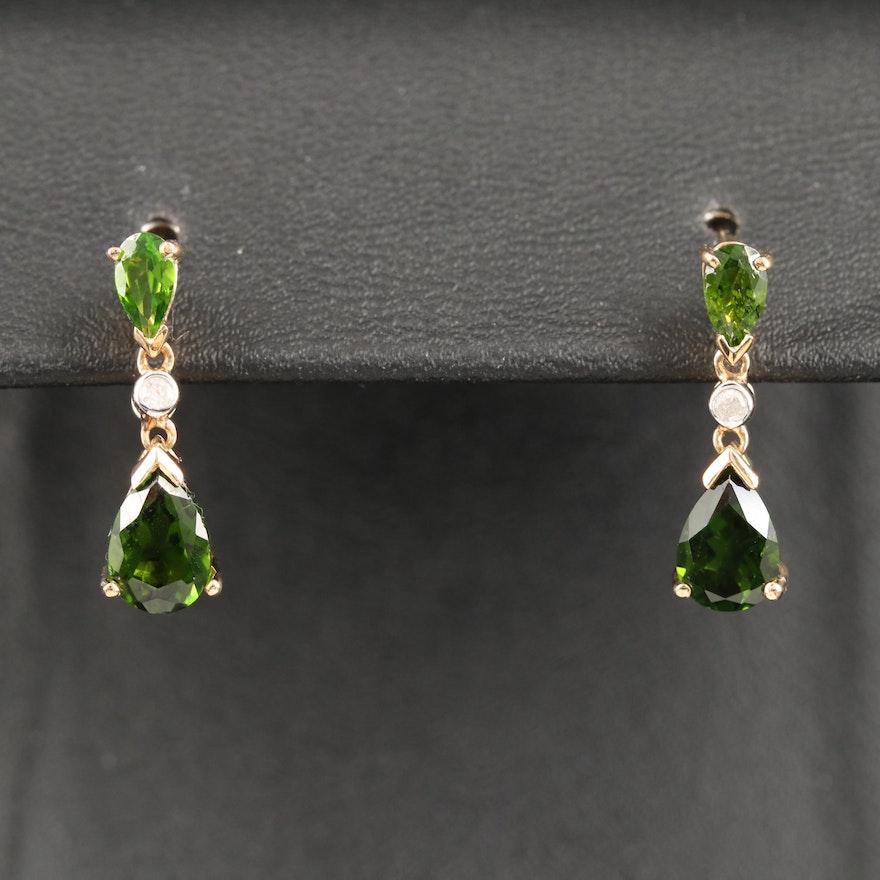 10K Tourmaline and Diamond Drop Earrings