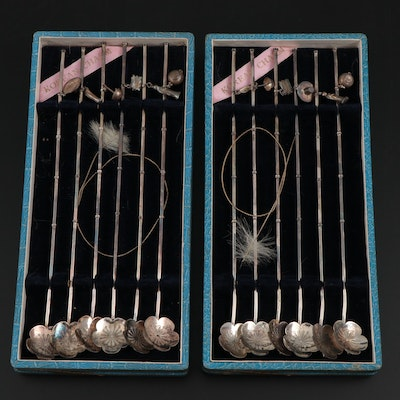 Korean 950 Silver Stirrer Straws with Charms in Presentation Boxes, Vintage