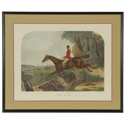 """Hand-Colored Engraving after John Harris and Harry Hall """"Gone Away"""""""