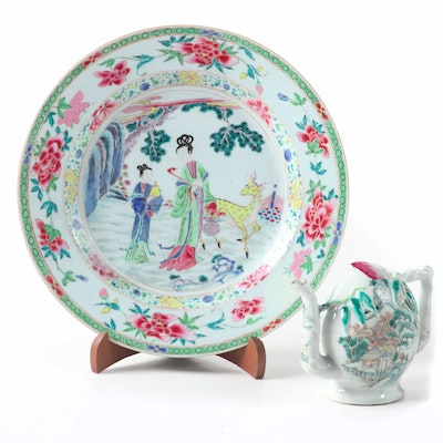 East Asian Style Decorative Porcelain Plate with Stand and Ceramic Teapot Figure