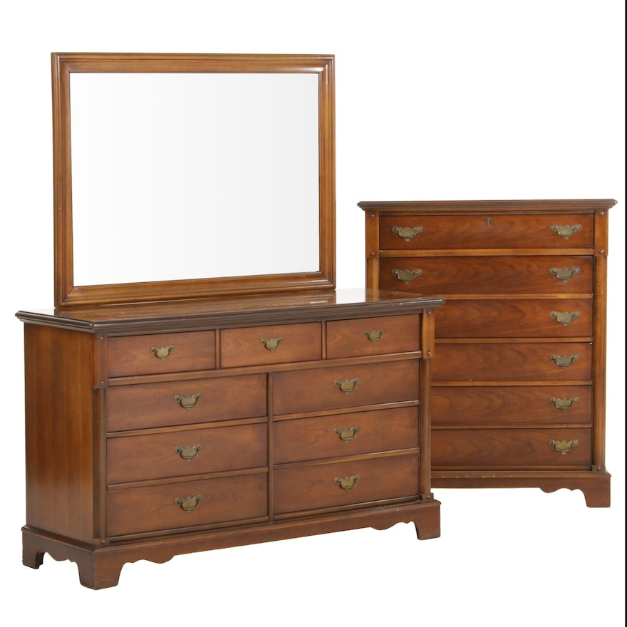 Bassett Furniture Federal Style Tall Boy and Dresser, Mid-20th Century
