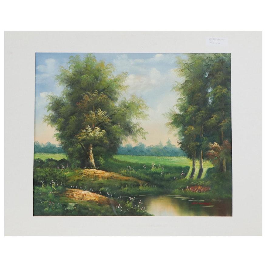 Idyllic Landscape Oil Painting, 21st Century