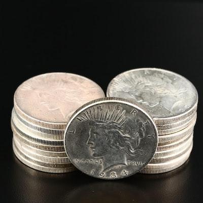 Twenty Peace Silver Dollars Featuring 1934-D