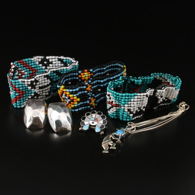 Beaded Stretch Bracelets with Kokopelli, Necklace, Earrings and Inlay Brooch