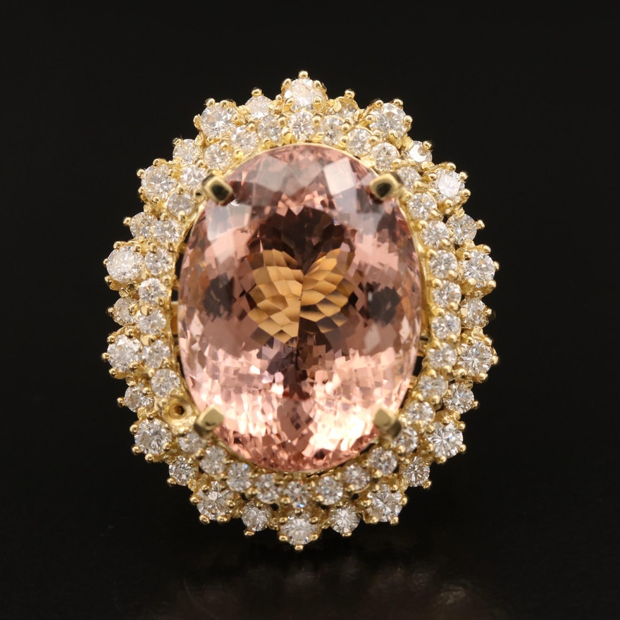 18K 15.73 CT Morganite Ring with 1.75 CTW Diamond Halo