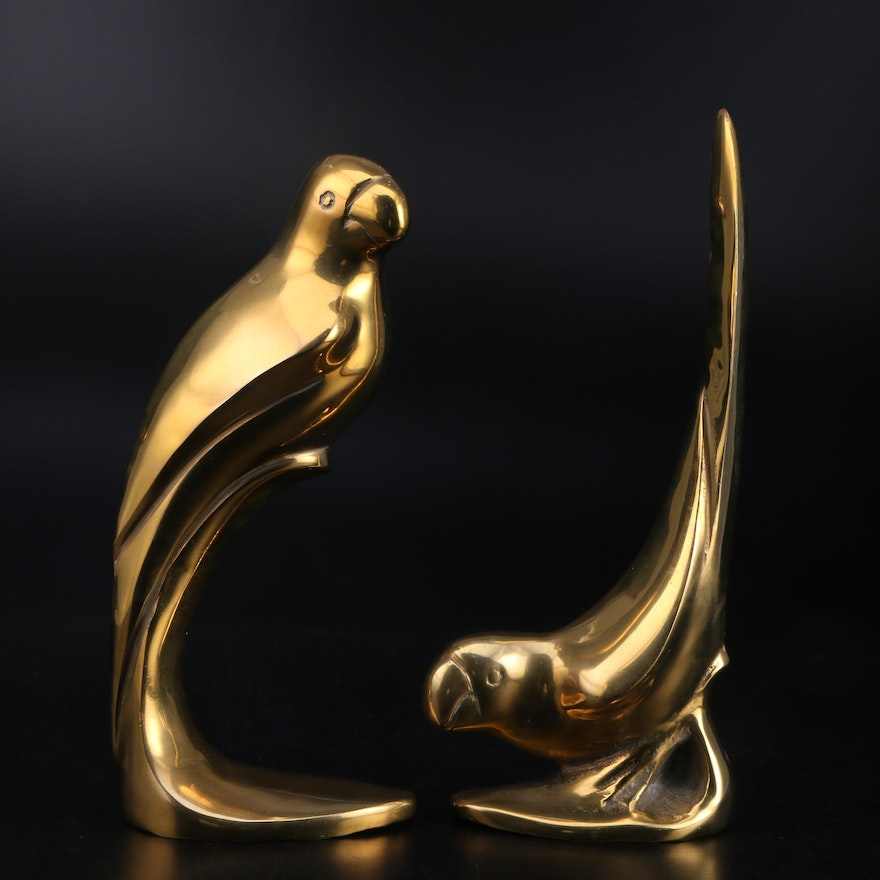 Pair of Brass Lorikeet Figurines
