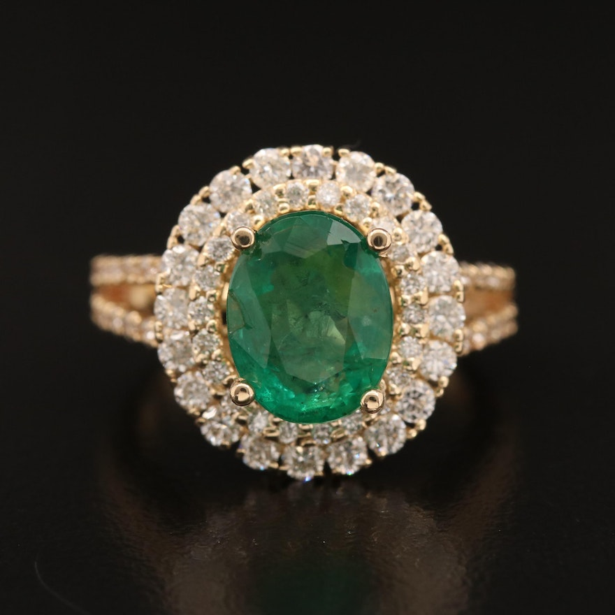 14K 2.75 CT Emerald and 1.05 CTW Diamond Oval Ring