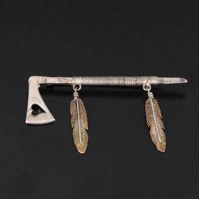 Southwestern Style Sterling Silver Brooch