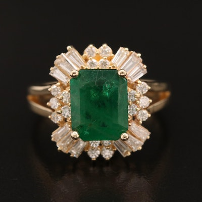 14K 2.45 CT Emerald and Diamond Ring
