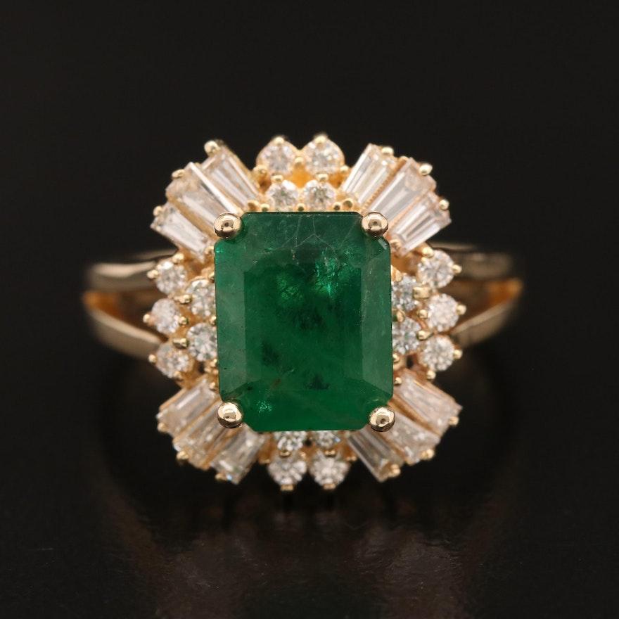 14K 2.45 CT Emerald and Diamond Ring