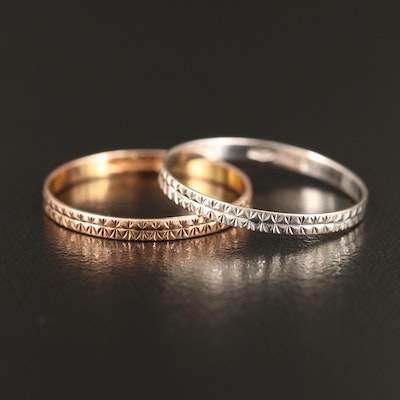 14K Rose and White Gold Engraved Bands