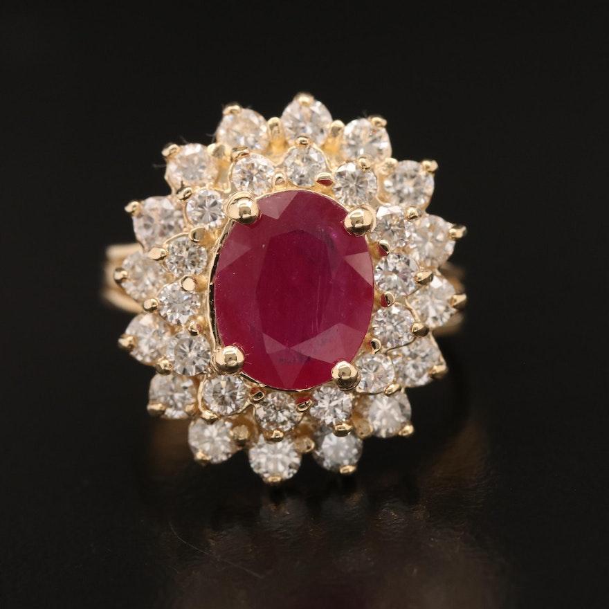 14K Corundum and 1.75 CTW Diamond Double Halo Ring