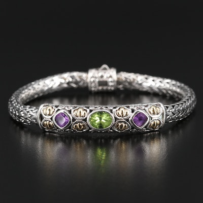 Samuel Benham Sterling Peridot and Amethyst Bracelet with 18K Accents