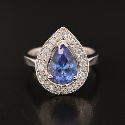 18K 2.02 CT Tanzanite and Diamond Ring