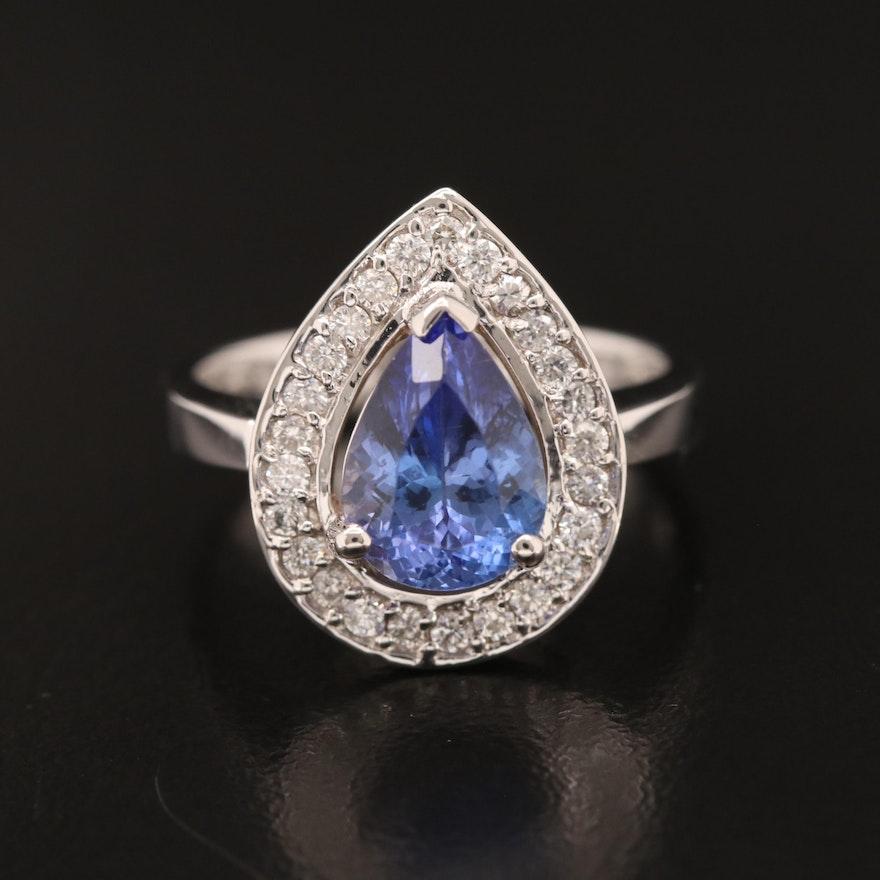 18K 2.02 CT Tanzanite and Diamond Ring