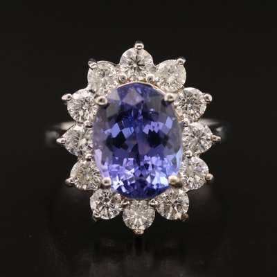 18K 3.96 CT Tanzanite Ring with 1.20 CTW Diamond Halo