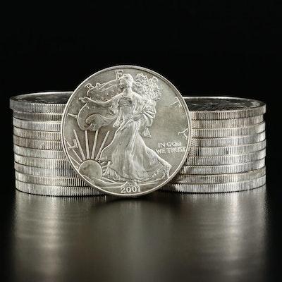 Roll of Twenty 2001 $1 American Silver Eagle Bullion Coins
