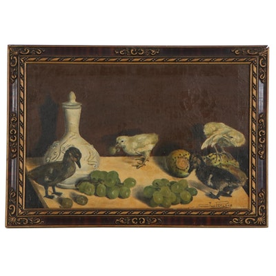 Jose Perianez Still Life Oil Painting of Chicks and Fruit, Mid-20th Century