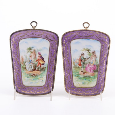 Sevres Style Hand-Painted Porcelain Courting Scene Wall Plaques, Antique