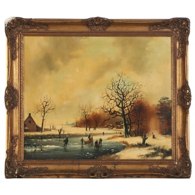 American School Figurative Winter Landscape Oil Painting, Early 20th Century