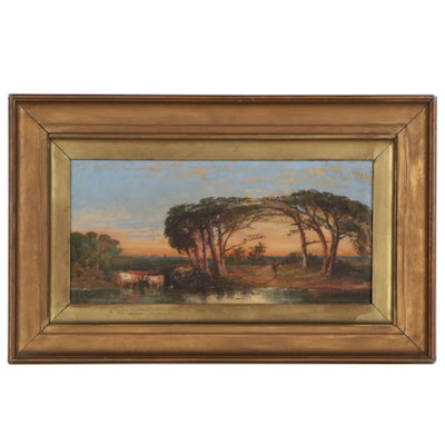 British School Style Pastoral Landscape with Cows Oil Painting, circa 1875
