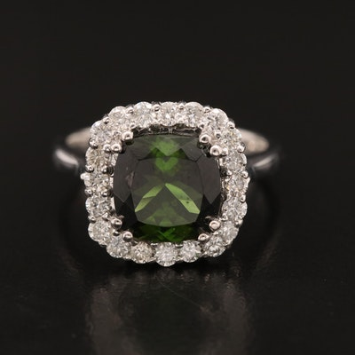 18K Tourmaline Ring with Diamond Halo