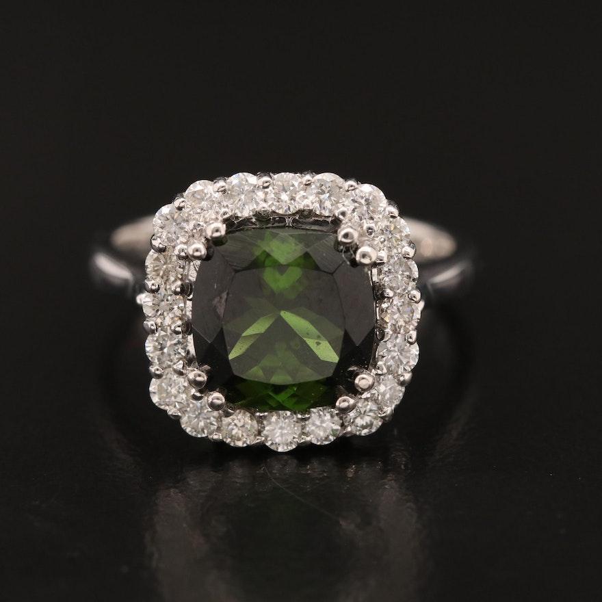 18K Tourmaline Ring with Diamond Halo