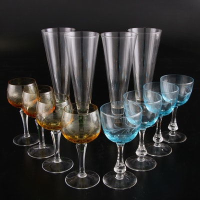 Blue and Yellow Etched Wine Glasses with Green and Yellow Stemmed Beer Glasses