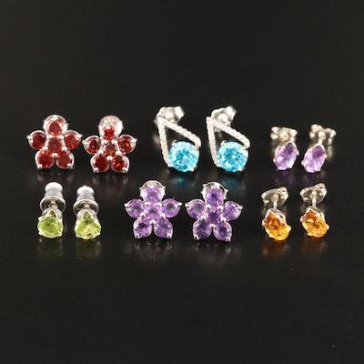 Selection of Sterling Silver Amethyst, Garnet and Citrine Stud Earrings