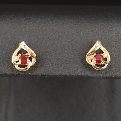 10K Garnet and Diamond Stud Earrings