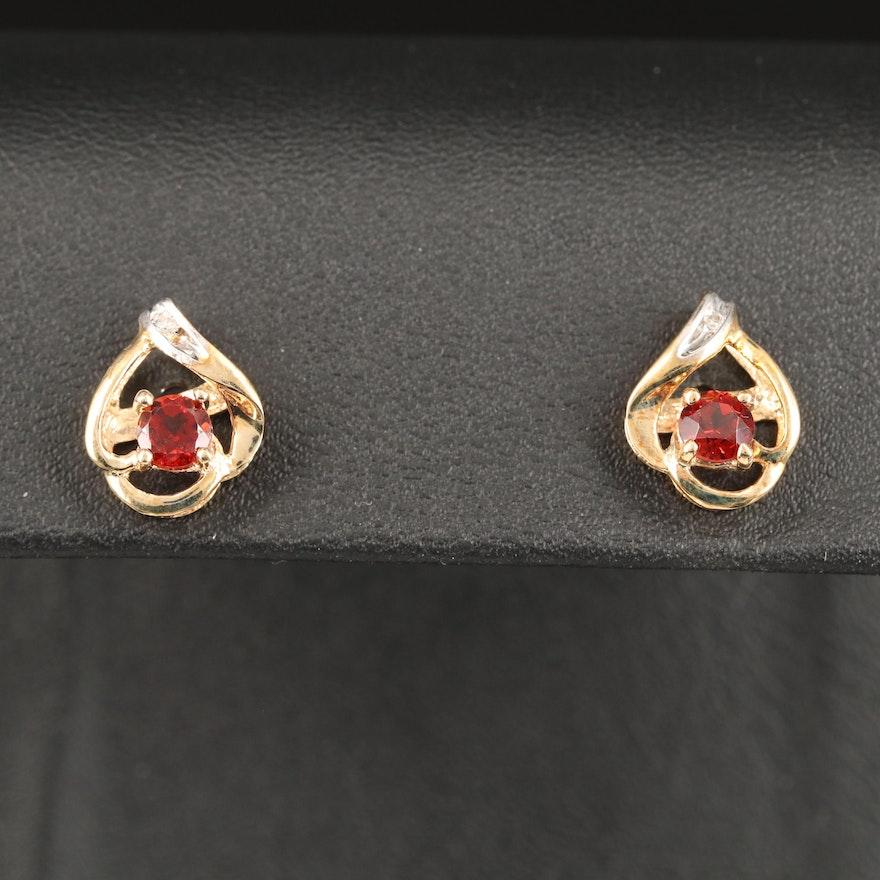 10K Garnet and Diamond Stud Earrings