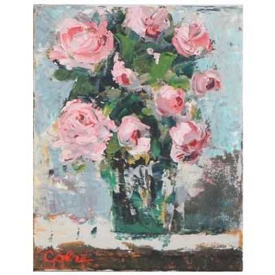 Amelia Colne Floral Still Life Acrylic Painting, 21st Century