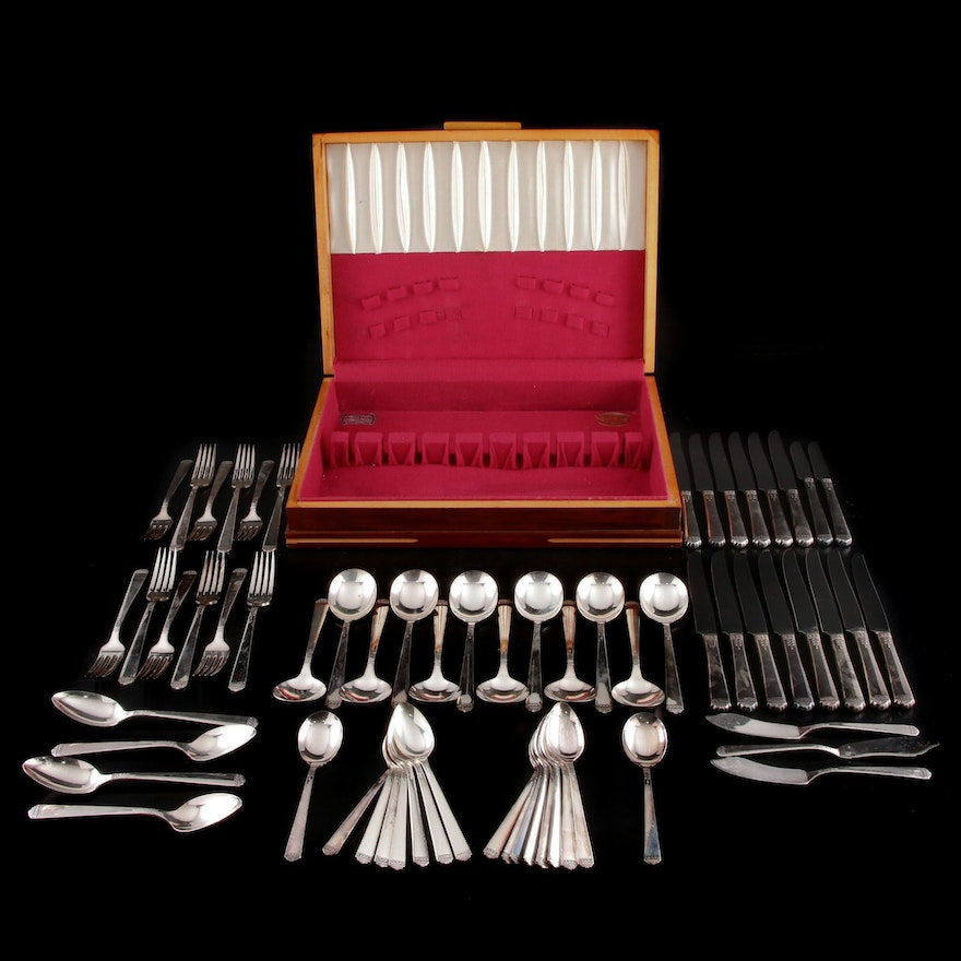 "1881 Rogers Oneida Silver Plate ""Surf Club"" Flatware with Chest"