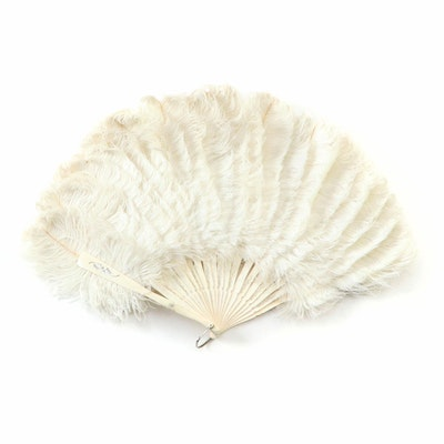 Ostrich Feather Folding Fan with Silver Metallic Painted Details