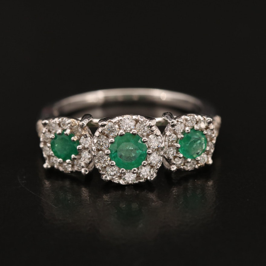18K Emerald Three Stone Ring with Diamond Halos