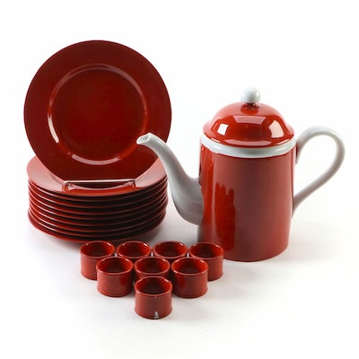 Fitz and Floyd Red Ceramic Teapot, Dessert Plates, and Napkin Rings