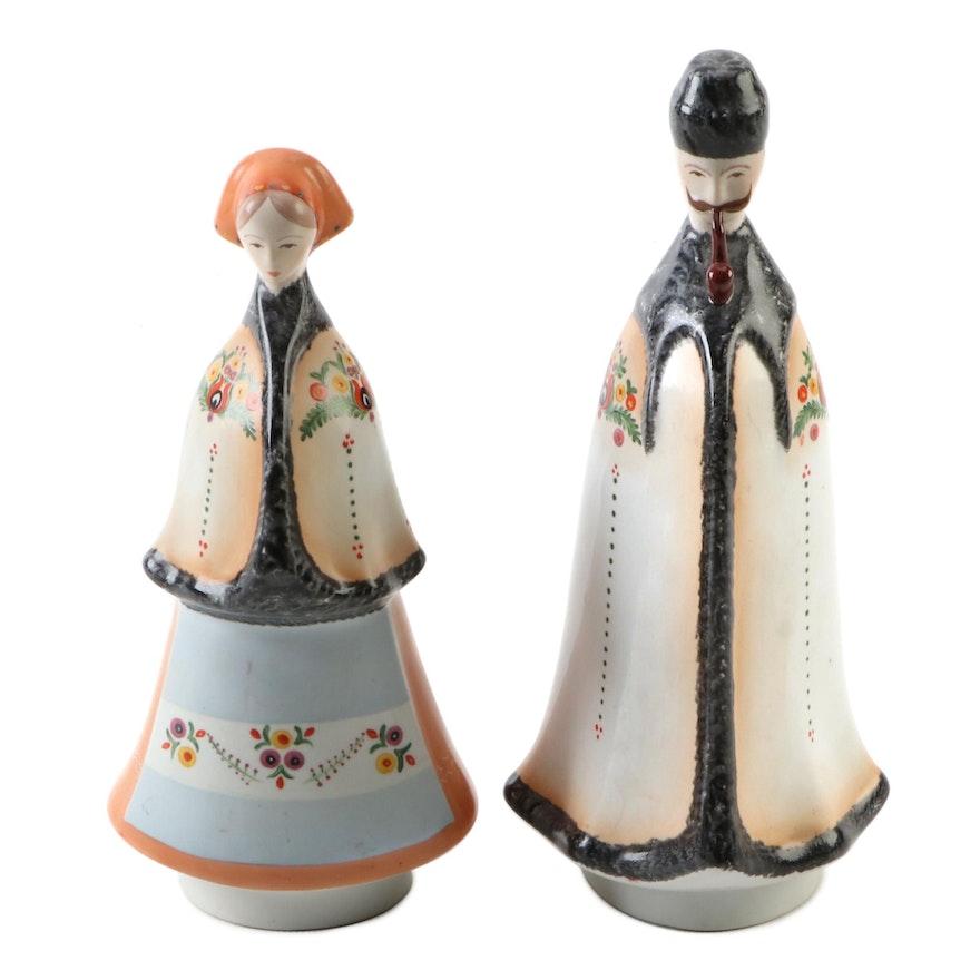 Hungarian Aquincum Hand-Painted Ceramic Figurines, Mid-20th Century