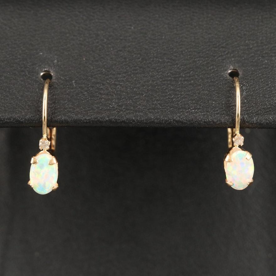 14K Opal and Diamond Dangle Earrings