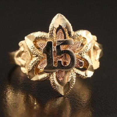 14K Tri-Color Gold Quinceañera Ring