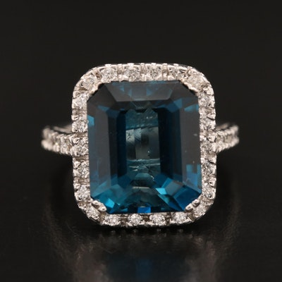 14K 13.34 CT London Blue Topaz and Diamond Ring